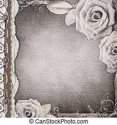 bruine , dekking, voor, een, album, roos