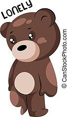 bruine , eenzaam, teddy beer, vector, illustratie, achtergrond, witte