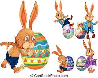 bruine , eitjes, konijnen, pasen