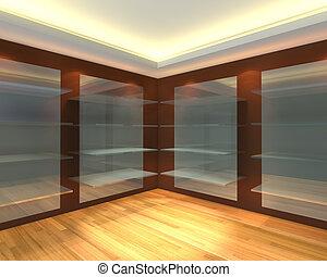 bruine , empty room, glas, planken