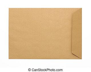 bruine , enveloppe, document, op wit, achtergrond