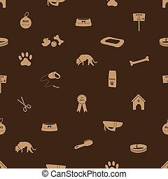 bruine , eps10, iconen, model, seamless, dog