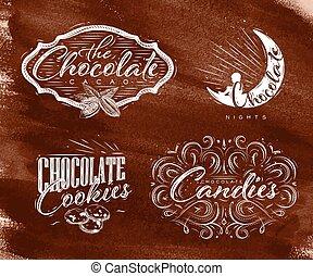 bruine , etiketten, set, chocolade