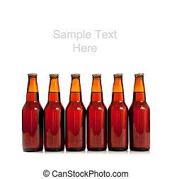 bruine , flessen, ruimte, bier, achtergrond, witte , kopie