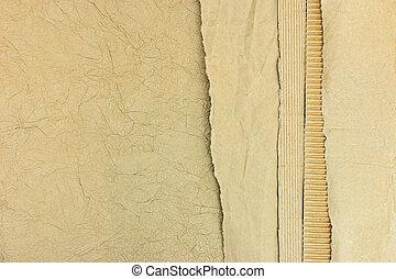 bruine , gescheurd, taste, recycling, randen, papier, karton