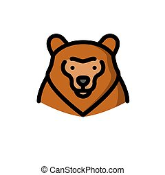bruine , grizzly, vector, beer, illustratie