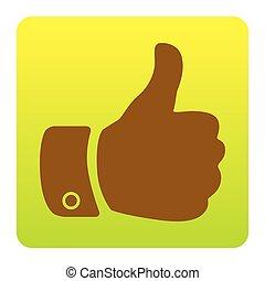 bruine , groen-geel, plein, afgerond, illustration., achtergrond., isolated., hoeken, meldingsbord, helling, vector., witte , hand, pictogram