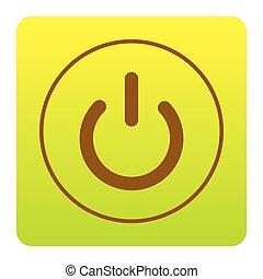 bruine, Groen-geel, plein, van, achtergrond, Vrijstaand, Hoeken, meldingsbord, helling,  switch,  Vector, Afgerond, witte, pictogram