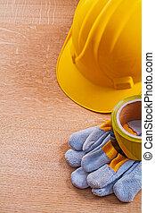 bruine , groep, werkende , houten, bouwsector, veiligheid, plank, gereedschap