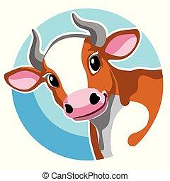 bruine , hoofd, spotprent, koe