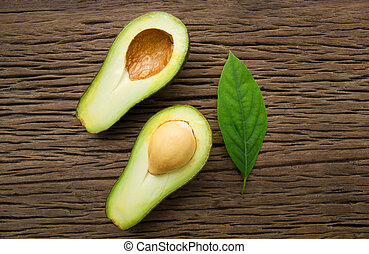 bruine , hout, avocado, achtergrond.