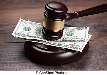 bruine , houten, geld, gavel, rechter, tafel