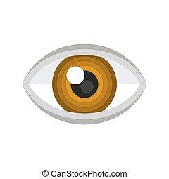 bruine , icon., vector, oog