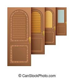 bruine , ingang, vector, deuren