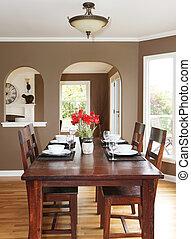 bruine , kamer, het dineren, muren, hout, tafel.