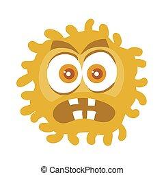 bruine , karakter, bacterie, vector, spotprent, pictogram