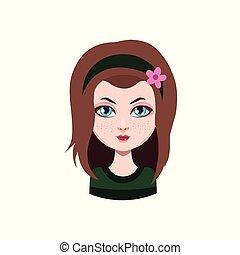 bruine , kleur, haired, -, langharige, meisje, ongedwongen