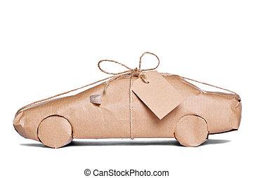 bruine , knippen, auto, papier, verpakte, uit