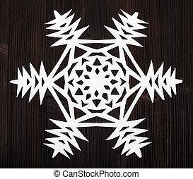 bruine , knippen, oppervlakte, donker, papier, sneeuwvlok, uit