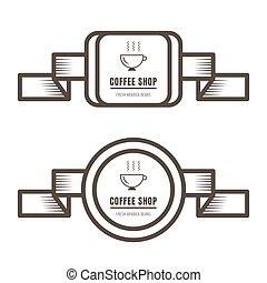 bruine , koffie stel, kleur, ouderwetse , etiketten, achtergrond., witte , kentekens