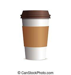 bruine , koffie, vector, kop, pet, papier, takeaway