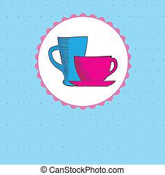 bruine , koffie, warme, achtergrond, kop
