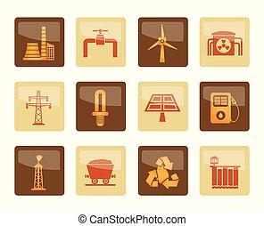 bruine , macht, iconen, elektriciteit, industrie, achtergrond, op