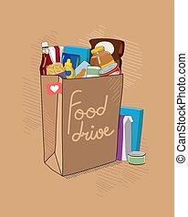 bruine , niet, vector, helpen, voedingsmiddelen, bederfelijk...