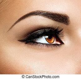 bruine ogen, oog, makeup., make-up