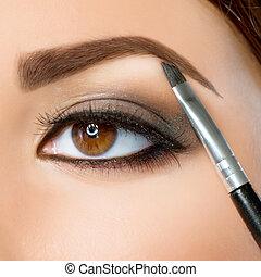 bruine ogen, wenkbrauw, makeup., make-up.