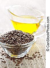 bruine , olie, zaad, vlas, linseed