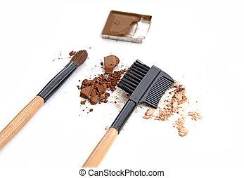 bruine , oog grimeren, brush., schaduw, witte
