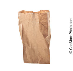 bruine , op, vrijstaand, zak, papier, achtergrond, witte
