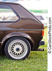 bruine , oud, auto, europeaan, bovenkant, achterkant, links