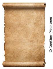 bruine , oud, vrijstaand, boekrol, witte , perkament