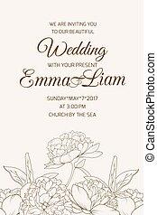 bruine , peony, roos, sepia, mal, uitnodiging, trouwfeest