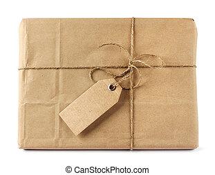 bruine , postbestelling, verpakken, met, label