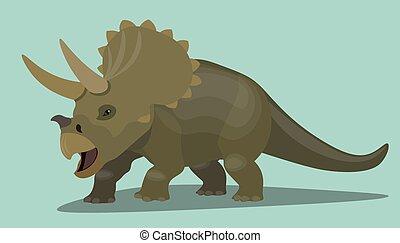 bruine , prehistorisch, dinosaurus, isolated., triceratops, karakter, illustratie, realistisch, hagedis, vector, ontwerp, wild, spotprent