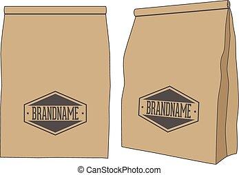 bruine , product, jouw, verpakken, etiket, zak, papier, of