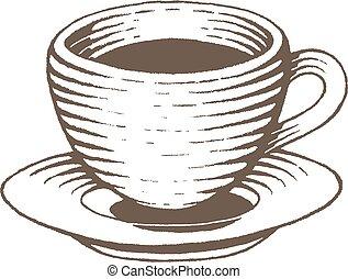 bruine , schets, kop, vectorized, koffie, illustratie, inkt