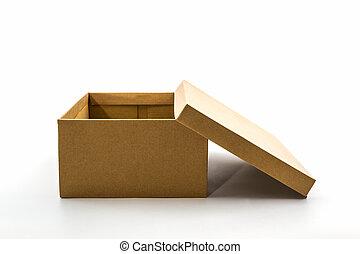 bruine , schoen doos, op wit, achtergrond, met, af)knippen,...