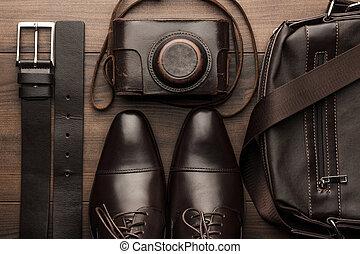 bruine , schoentjes, riem, zak, en, film, fototoestel