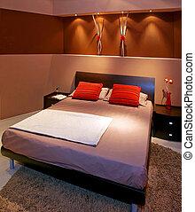 Bruine , slaapkamer. Bruine , kleur, bed, closeup, bladen ...