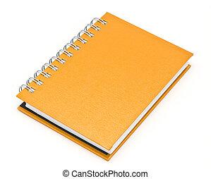 bruine , stapel, boek, binder, aantekenboekje, ring, of