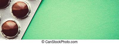 bruine , tabletten, blaar, achtergrond., groene