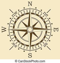 bruine , vector, kompas