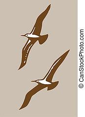 bruine , vector, silhouette, vliegen, illustratie, achtergrond, vogels