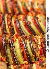 bruine , vegetariër, ratatouille, houten, macro, fotografie,...