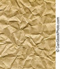 bruine , verfrommeld, oud, zak, papier, texture.
