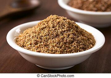 bruine , vlas, zaad, linseed, of, grond